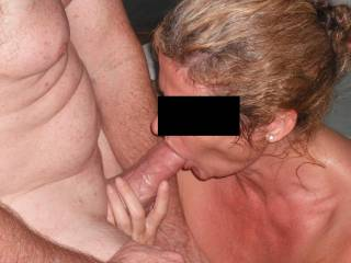 A real mouthful of our swinger friend\'s extra thick cock in his spa