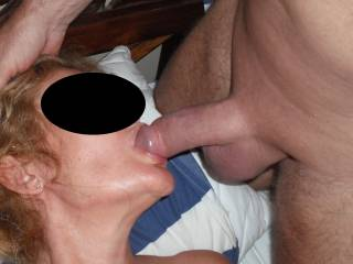 Sucking my Hubbies lovely smooth shaven thick cock