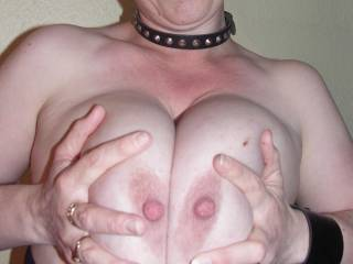 Damn would I love to slide my long hard cock between those gorgeous globes and pinch those big hard nipples of yours.