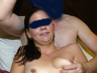 A 22 year old super-slut my well-hung buddy and I did a threesome with a while back. She didn't even flinch when he slid his super thick cock into her ass! And I did my first, and so far only, DP!