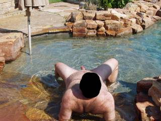 Hubby naked and nervous in our pool...our female neighbor was in her back yard with her female friends and hubby\'s cock was open for display!  I wonder if they got a look?  It made me wet and horny for sure seeing my man naked and vulnerable!!!