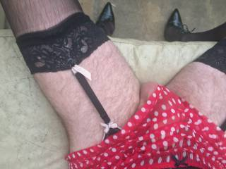 spotty red frilly panties x