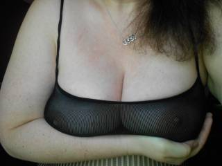 Nipples, seen through a new sheer lace outfit...