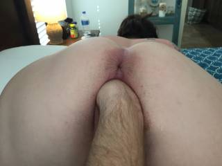 Stretching her pussy out real good before I fuck her. Nothing feels better than her stretched out, super wet pussy.