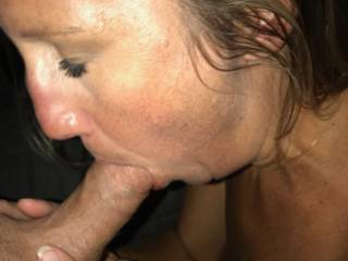 Sucking the boyfriend\'s cock again. Hubby likes to watch me. He says I do it good. What do you guys think?