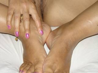 all four things i adore are on this photo and they are perfect... perfect feet to lick wonderful toes to suck amazingly painted nails to worship.. and on top of all that fingers and hot shiny pussy to lick and taste for as long as you wish...