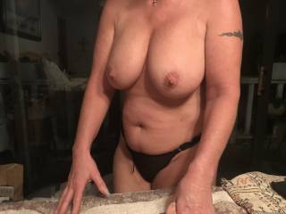 Getting ready for a great fuck session! Love those sexy tits! What do you think?