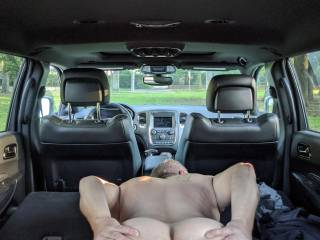 """Just about to get fucked from some stranger walking by.  I was bent over with the hatch open and heard some guy say """"spread them ass cheeks apart for a big cock"""" so I reached back spread my ass and replied """"fuck me""""."""