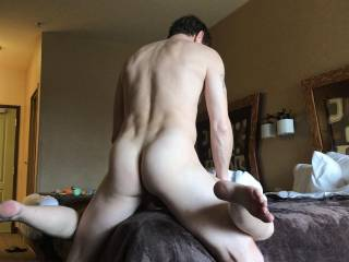 Hubby's sexy ass while he fucks me…anyone else care to get in line?