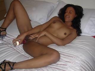 Our friend Kareen masturbating with our glass dildo xxx