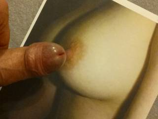 That's it. Rub your cock on my hard nipple. Such a turn on.