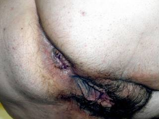 Hairy used ass and cunt of wife Lydia Bersot.