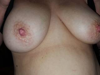 The wife loves to send me pictures of her nice tits.  I ain\'t mad about it...lol