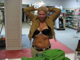 she listened to his commands. ups driver wanted to see her in bra and her suede jacket. she was getting excited stripping for him
