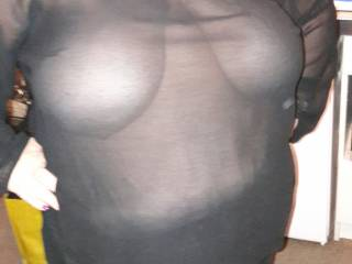 Sheer top showing her massive tits