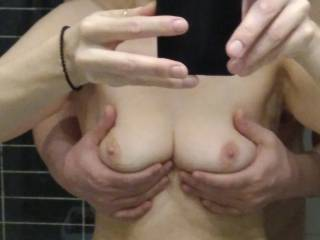 wish there were four hands on my small tits