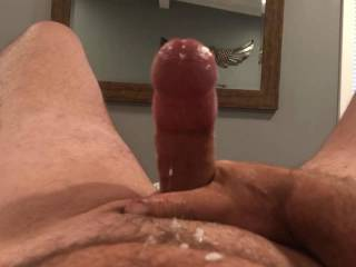 I told him to make me a video while he is away  I think he did a great job.  Look at all that cum and so hard also!!  Who would suck my husbands cock if I let them? We would like to see if there is any interest and maybe having some extra fun soon!