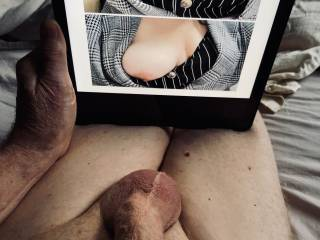I got these sexy teasing shots from a girlfriend so I made a collage then jacked off.