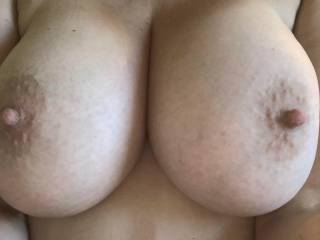 My wife's hot sexy nipple on top of her gorgeous perfect real tits