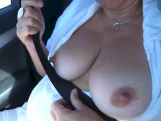 wife flashes for everybody her Tits on the Autobahn. After that we fuck on a raised hide. Please reply with cum covered Tit pics of her !