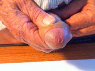 Nice thick cock and foreskin.  Please post a vid; I love to see a mature man enjoying himself.  From Mrs. Floridaman