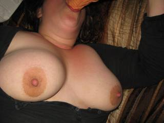 My hot wife sucking a dildo while I play with her tits. I was wishing it was a Zoig friend\'s cock the whole time.