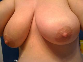 I want to reach around and grab those while you're riding my hard cock reverse cowgirl :)