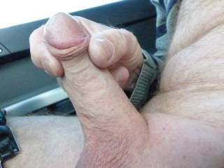 Thought I\'d find somewhere for a wank in the car - precum starting to flow...