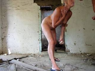 an abandoned house -My husband's cum dripping from my mouth. Hmmm very yummy. Would you like to be here? :)