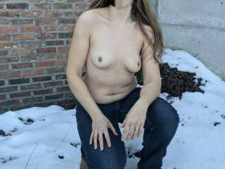I dared her to flash her titties in the snow. She didn't back down. :-D