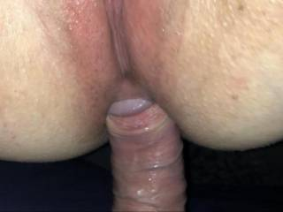 The head of that hard cock being eased into my tight ass