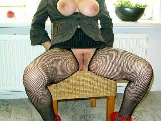 """""""In my Buisness Cfm Outfit for you......showing my Big Tits and my nasty Pussy........want you wank for me and cum on my fucking hot Heels ?""""  GG Angelique"""
