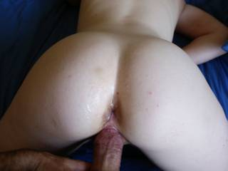 I was so turned on at the sight of her cum-oozing butthole that I got hard again and had a go at her distended pussy