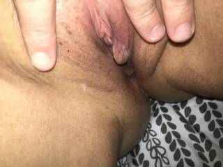 Wife spreading her freshly fucked cream pied pussy.