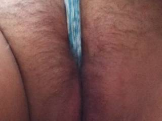 Close up of wife's hairy engorged snatch with a lovely phat cameltoe slit