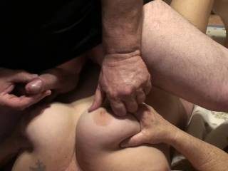 A short video showing us having some foreplay. He loves stroking and rubbing his dick and balls on my tits, while I squeeze, fondle and play with them. Do you like??