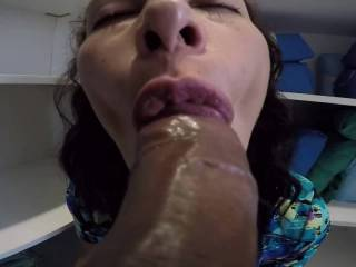 Cathy Giving a wonderful blowjob at work
