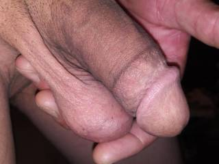 Holding my Cock and balls, the whole package in one hand. Lol I have big hands