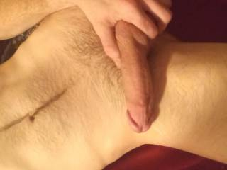 Taking pictures while I'm horny, wanting you to come over and take this dick till I fill you up
