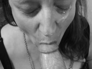 """Femme Sexuelle - Noir et Blanc Classique: """"Blowjob Cum Queen"""""""