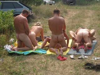 Wow...group action outdoors!  Does it get any better than this?  Very horny pic!