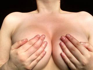 OMG, i have something you could try, it would be new to you !! even covered with your hands, those tits are magnificent !!