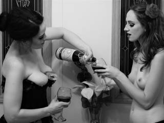 The wife and her girlfriend enjoying a fine bottle of Chateau la Zoig