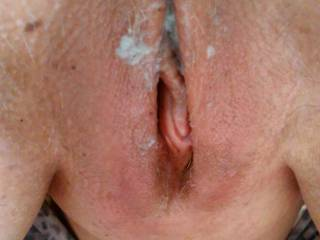 lovely hot creamy cum dripping from her horny pussy hole.