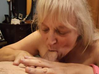 Going down on all of that delicious cock. Would you like this married woman to take all of yours? Oh! I love to swallow... All of it.