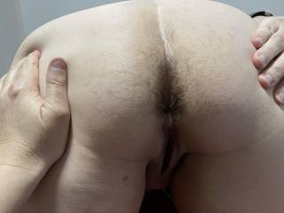 Love licking this hairy ass, just shaved her pussy. She keeps her arse hairy though, just what I like
