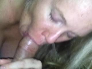 The money shot !! Our first blowjob video with nice tit view.End of a great blowjob timed perfectly i knew i only had alittle memory left so i started it right when i was about to cum.