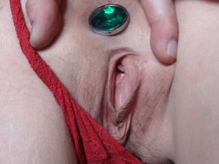 This pic is so hot, your pussy is perfect for my tounge to slip into, and your plug is very sexy but i would slide it out  so i could feel you tight asshole round my throbbing hot cock