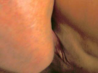 He\'s lappping our cum cocktail from my pussy...Mmmmm~! Love the feeling of his tongue on my freshly fucked cunt~! Would you like some too??
