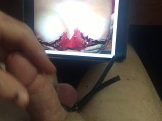 Stroking my cock to danbrz5 sexy cleavage and nips.